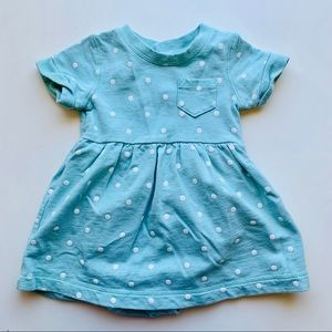 Light Aqua Dress with White Polka Dots 18m